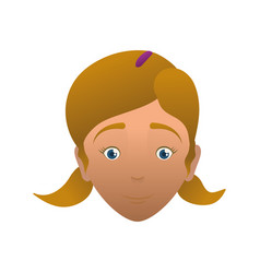 kid child girl head avatar vector image