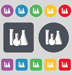 laboratory glass chemistry icon sign A set of 12 vector image
