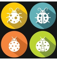 Ladybugs on yellow background with shadow vector image