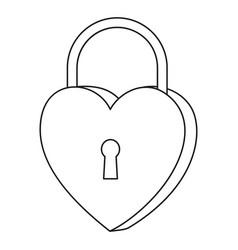 line art black and white heart padlock vector image