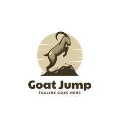 Logo goat jump simple mascot style vector