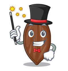 Magician fresh pecan nuts isolated on mascot vector