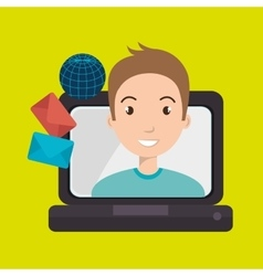 man laptop global message vector image