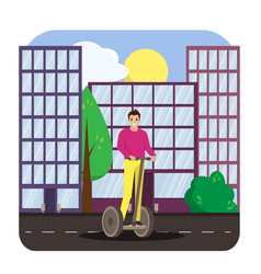 man riding electric scooter in the city vector image