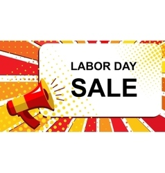 Megaphone with LABOR DAY SALE announcement Flat vector