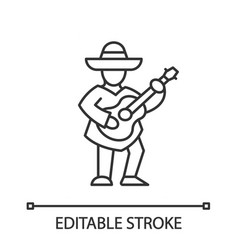 Mexican with guitar linear icon latin musician vector
