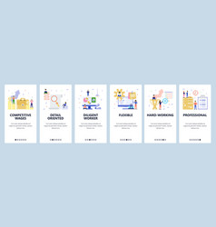 Mobile app onboarding screens business and office vector