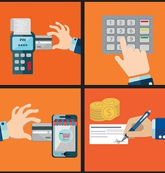 Mobile banking Icons shop online business icons in vector image