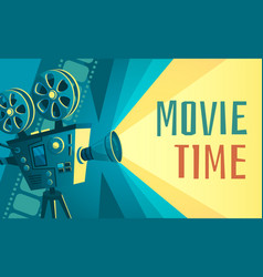 movie time poster vintage cinema film projector vector image