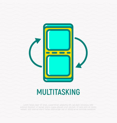 Multitasking on smartphone screen thin line icon vector