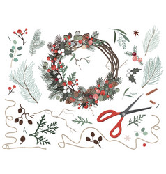 nature components christmas wreath made natural vector image
