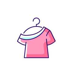 one shoulder t shirt rgb color icon vector image
