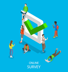 Online survey flat isometric concept vector