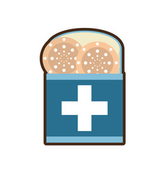 Package with medical band aid vector