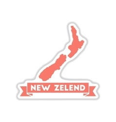 Paper sticker on white background New Zealand map vector