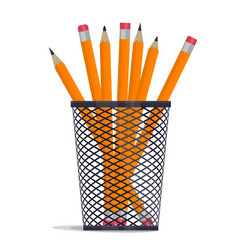 pencil in holder basket drawing equipment vector image