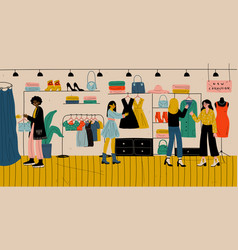 People shopping in retail store clothes shop vector