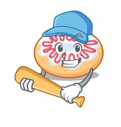 Playing baseball jelly donut character cartoon vector