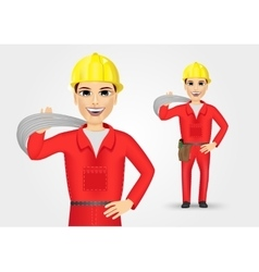 portrait of technical electrician or mechanic vector image
