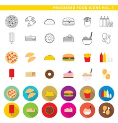 Processed food icons 001 vector