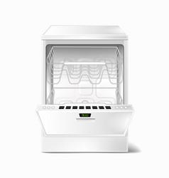 realistic empty dishwasher with open door vector image