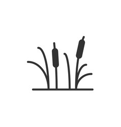 Reeds grass icon in flat style bulrush swamp on vector