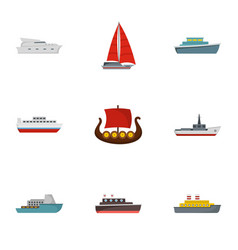 Rescue boat icons set flat style vector