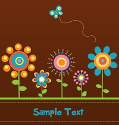 Retro Flower Card 2 vector image