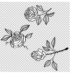 Rose flower tattoo pattern floral fabric vintage vector