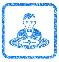 Roulette dealer framed stamp vector