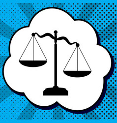 scales of justice sign black icon in vector image