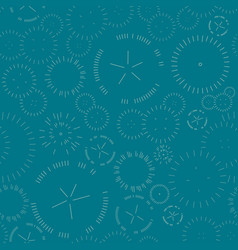 seamless geometric pattern fireworks on green vector image