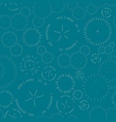 Seamless geometric pattern fireworks on green vector