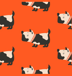 seamless pattern with cute dogs red background vector image