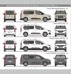 Set long l2 family passenger mini vans 2018 vector