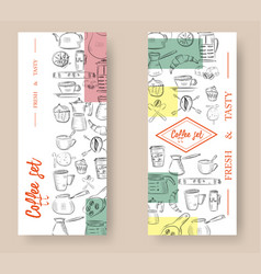 set of vertical banners with graphic design vector image