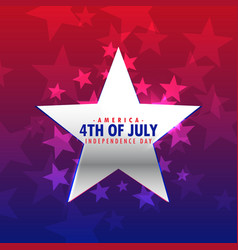 Shiny silver star 4th july background vector