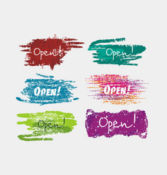 Sign set in brush stile we are open againwelcome vector