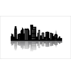 Silhouette of office buildings with reflection vector image