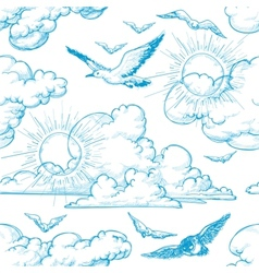 Sky seamless pattern vector