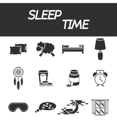 Sleep time icon set vector image
