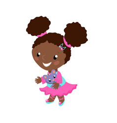 Smiling african girl in pink dress vector