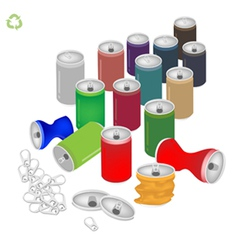 Soda Cans with Recycle Symbol for Save The World vector image