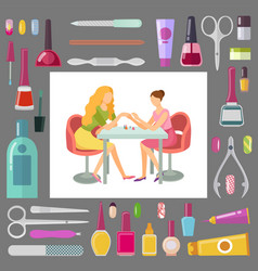 spa salon manicurist with client and tools vector image