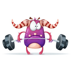Sport monster characters barbell vector