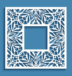 square frame with cutout paper border pattern vector image