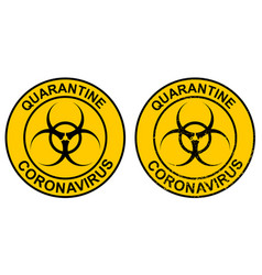 Stamp quarantine coronavirus with hazard sign vector