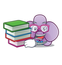 Student with book orchid flower mascot cartoon vector