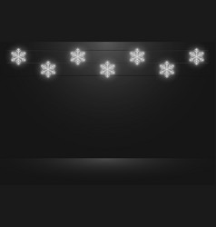 studio background with glowing neon snowflakes vector image
