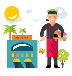 Sushi chef flat style colorful cartoon vector